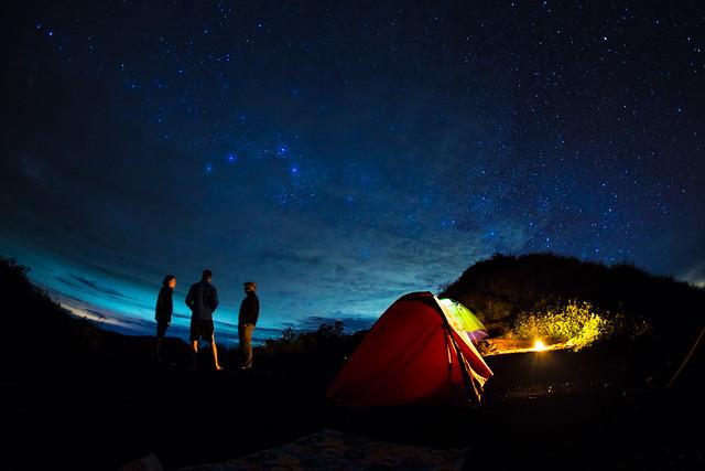 camping, stars, sky