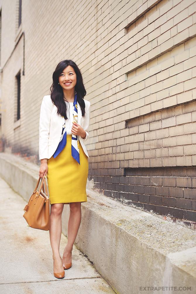 mustard skirt hermes scarf2