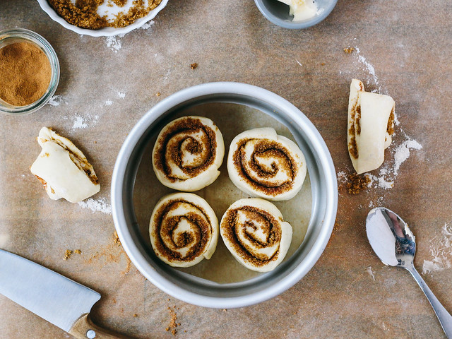 Small batch cinnamon rolls in the making