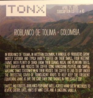 Rioblanco - Tonx Coffee
