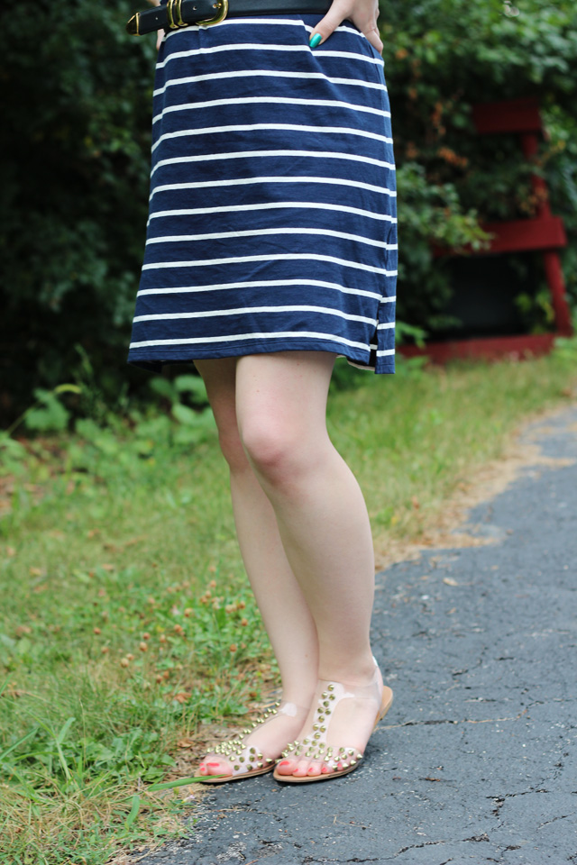 Navy Striped Dress and Clear Spiked Sandals