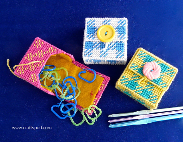 How to Make a Stitch Marker Case from Plastic Canvas, Using Cottonish Yarn