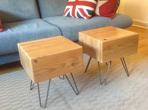 Awesome coffee tables made from two large wooden blocks for Small block coffee table
