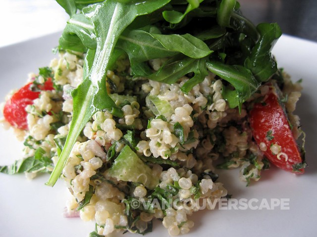 Luke's Tabbouleh/Quinoa salad, mint, tomato, cucumber, lemon-tahini dressing, minced green onion, chopped red onion