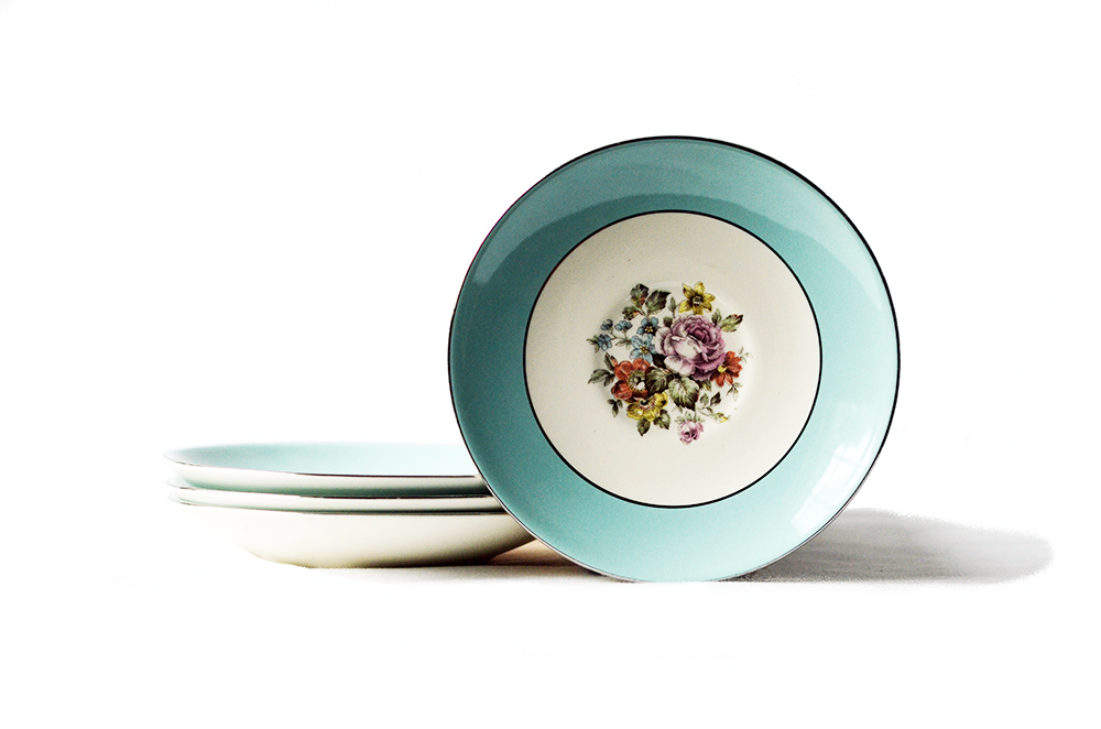 Vintage Teal and Floral Dessert Bowls