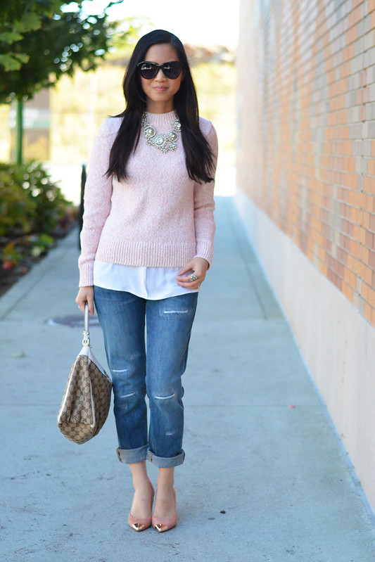 Gap distressed boyfriend jeans with sweater
