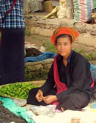 Hill tribe vendor at Kaungdain Market