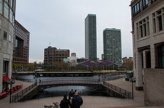 Vue générale dans le quartier de Canary Wharf