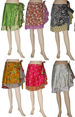 Wrapskirt vintage sari green reversible two layer wrap around skirts beach dress