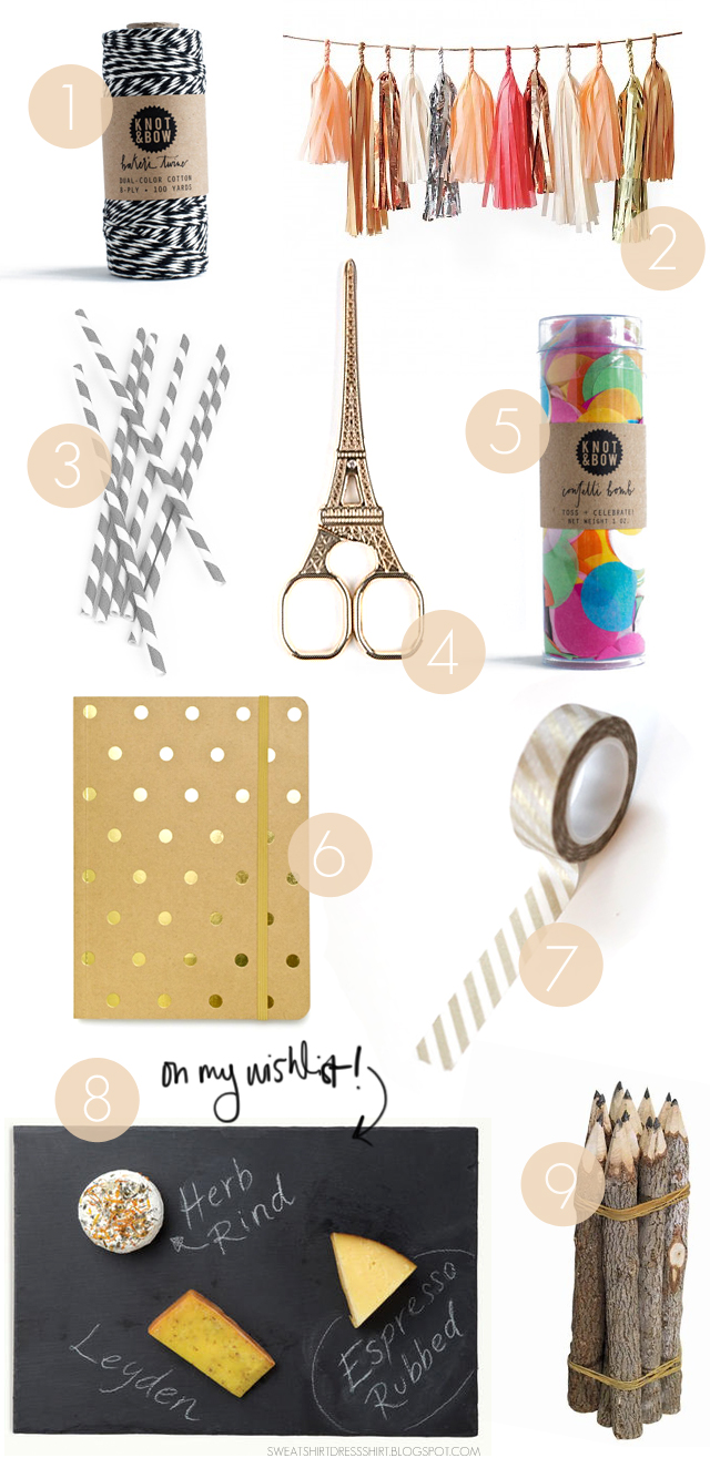 gift guide for bloggers, under $16, under $20, gift guide for girlfriend, best friend, confetti, tassle garland, black baker's twine, knot and bow, eiffel tower scissors, chalkboard cheese board, slate cheese board, world market, gold striped washi tape, polka dot journal, twig pencils