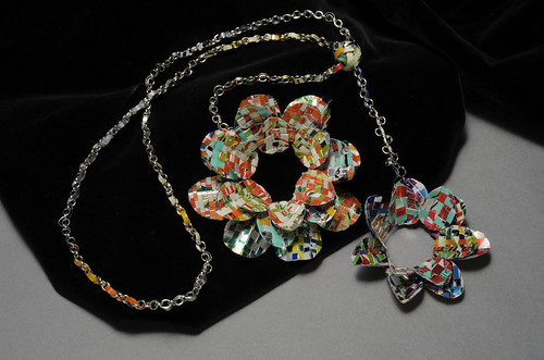 "ISA senior Emily Baxter's ""Floral Pop Can Necklace"" is a finalist in the NICHE Awards Recycled category"