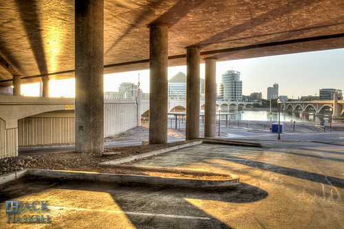 bridge arizona architecture sunrise buildings dawn downtown shadows waterfront townlake pillars hdr tempe millavenue tempetownlake wwh haydensferry jhaskellus jhaskell jackhaskell jackhaskellphotography