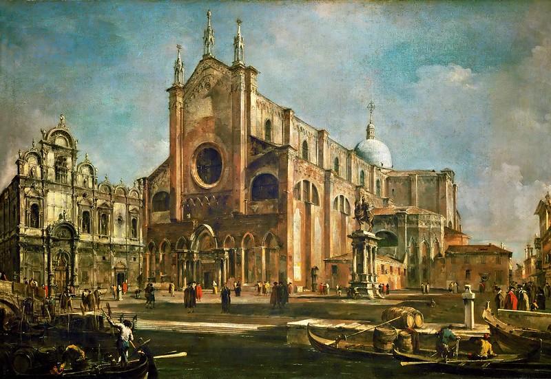 Francesco Guardi - Campo de la Basilica dei santi Giovanni e Paolo (c.1760)
