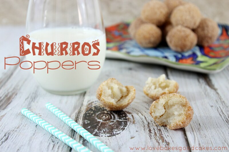 Churros Poppers with a glass of milk.