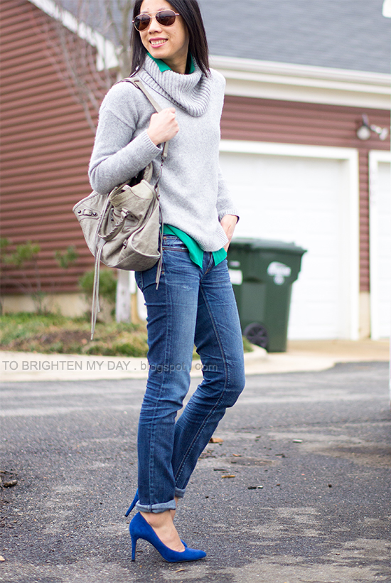 gray cowlneck sweater, green blouse, jeans, blue suede pumps