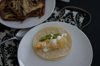 Home made shrimp tempura tacos with lime creme frache and Guacamole