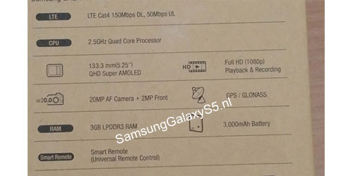 Rumours: Galaxy S5 box image list 2.5GHz Quad Core Processor
