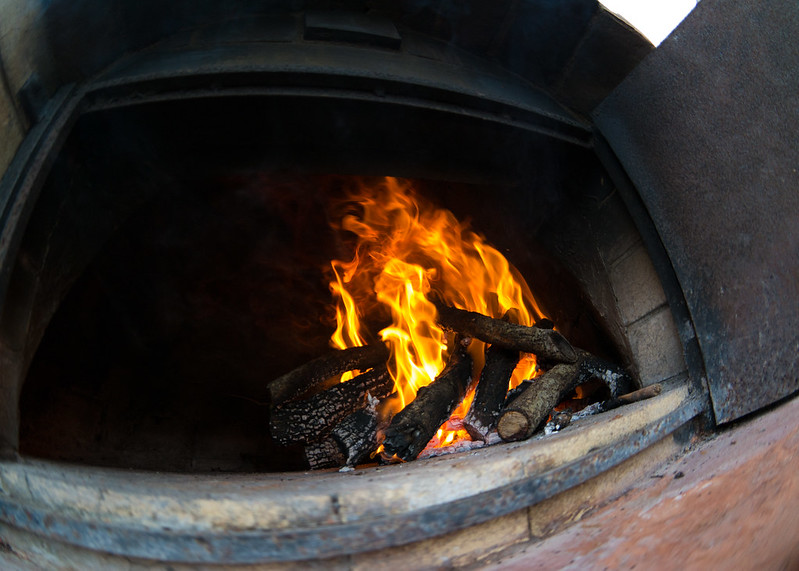 Wood Fire in a Brick Oven