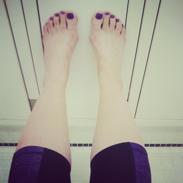 why yes i have taken to matching my toes to my workout gear. girl athlete antics.