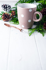 vintage Cup of hot cocoa on wooden background deco…