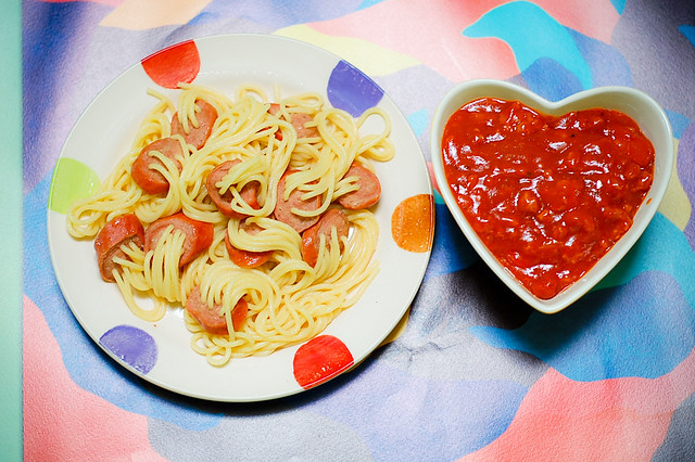 Pinoy Spaghetti with Sausage Franks on a Pasta