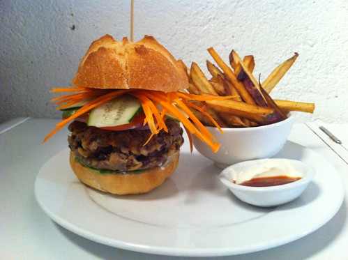 veg patti burger w/ sweet potato handcuts & sirachi mayo