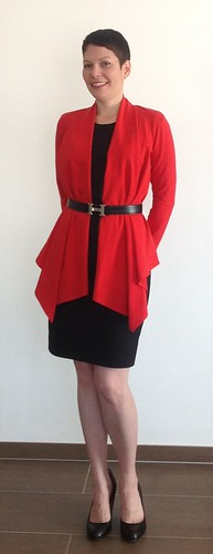 Red cardigan - front 3