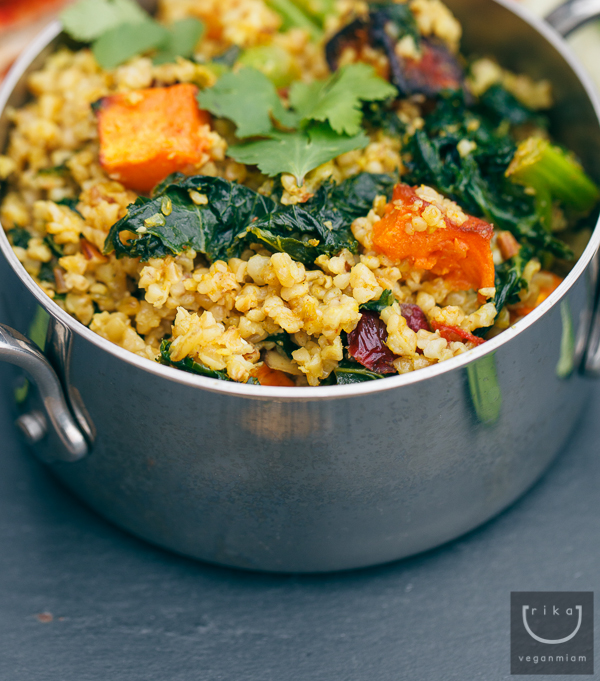 Vegan Sweet Curried Freekeh Salad