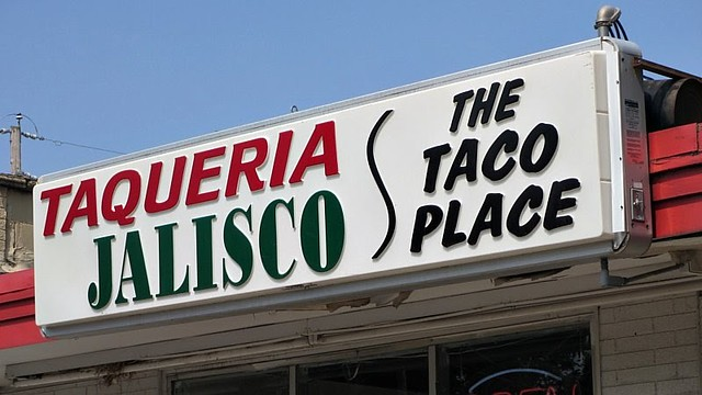 Sign from Taqueria Jalisco in Des Moines, Iowa