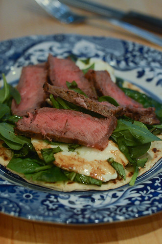 The finished Grilled Steak and Fresh Mozzarella Flatbread.