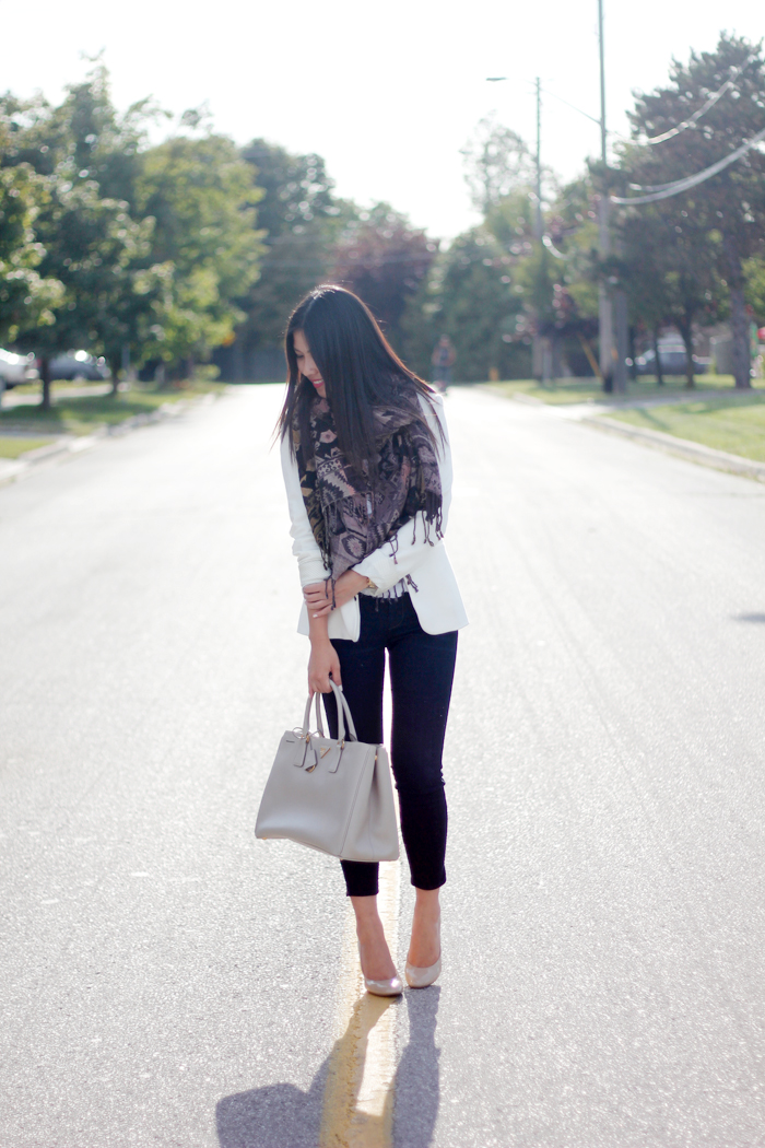 Structured blazer and textured scarf (5)