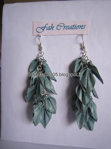 Handmade Jewelry - Origami Paper Leaves Earrings (24) by fah2305