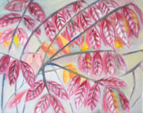 Red Leaves (Oil Bar Painting in Progress as of Sept. 29, 2013) by randubnick
