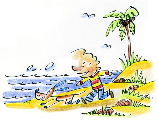 running along coconuts beach