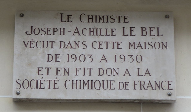 Photo of Joseph-Achille Le Bel white plaque