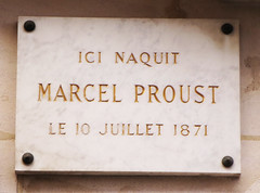 Photo of Marcel Proust white plaque