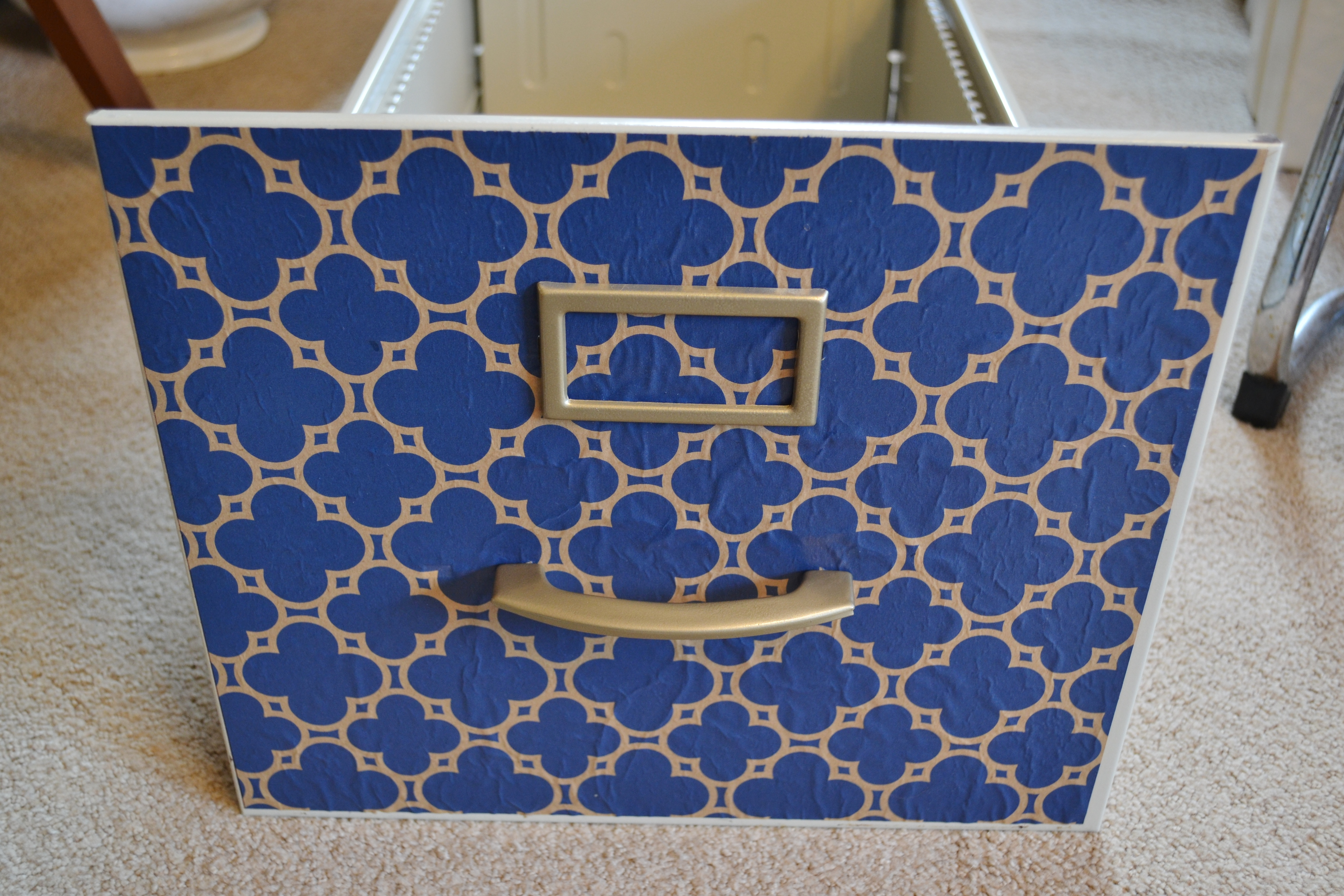 papered file cabinet