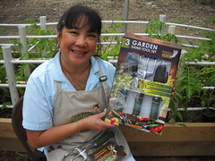Ramona with Garden tools in box