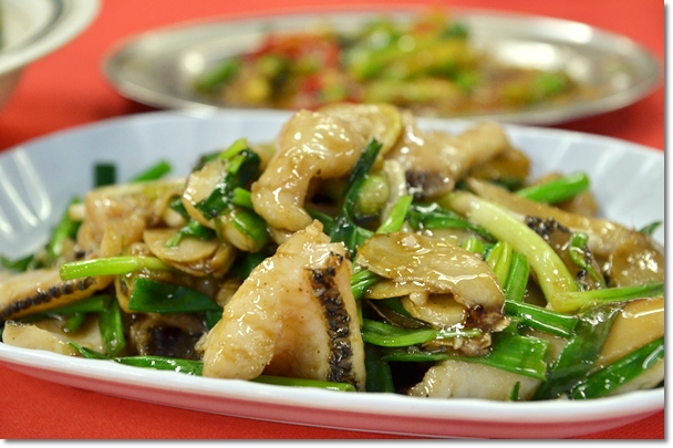 Stir Fried Snakehead Fillet with Ginger & Scallions