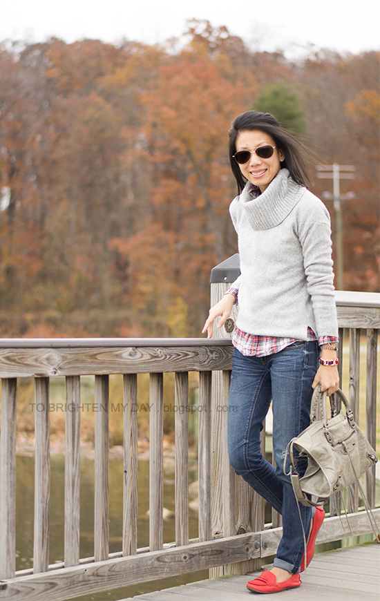 gray cowlneck sweater, plaid shirt, red loafers
