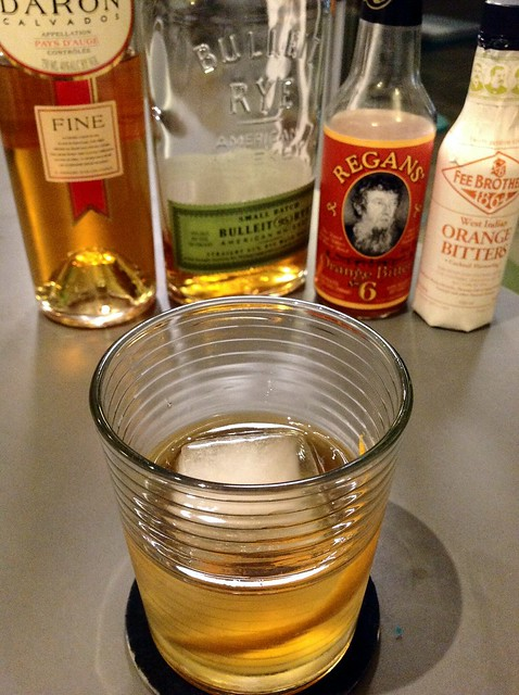 (French) American Trilogy with rye, calvados, orange bitters