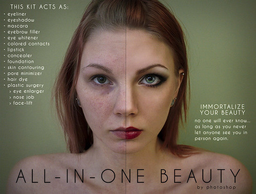 A mock ad campaign for photoshop where one side of a woman's face has been digitally altered to our societal standard of beauty.