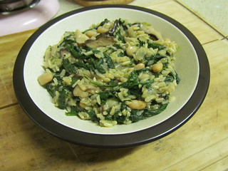 Brown Rice and White Beans with Shiitakes and Spinach