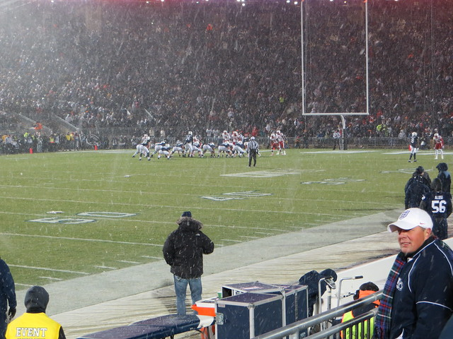 Offense at far 7, pre-snap, snow