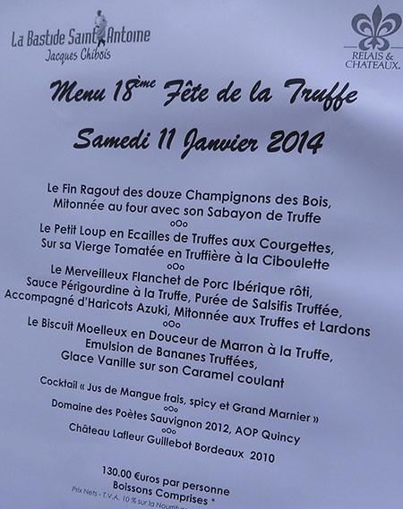 menu truffes