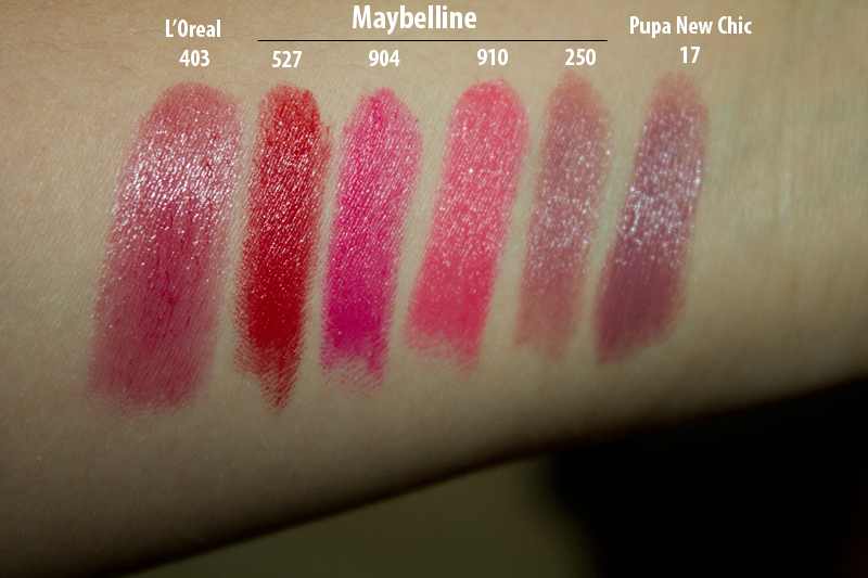 Свотчи Maybelline 527, Lady Red; 904, Vivid Rose; 910, Shocking Coral; 250, Mystic Mauve; Loreal 403 HYPNOTIC RED; Pupa New Chic 17