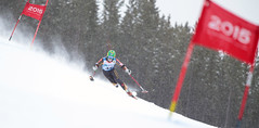 Matt Hallat racing down the hill in Panorama, CAN during the downhill at the IPC World Cup