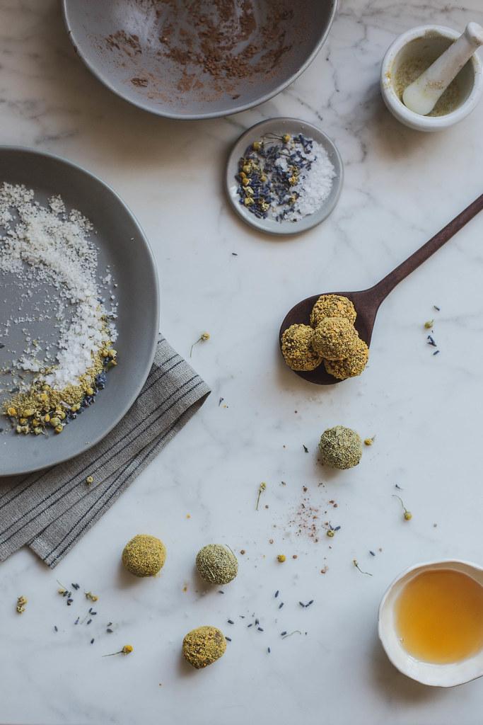 raw vegan chocolate truffles: chamomile + lavender + bee pollen