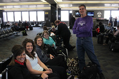 Danika, Lainika, Janika, Autumn, Brian getting ready to board the plane in Omaha