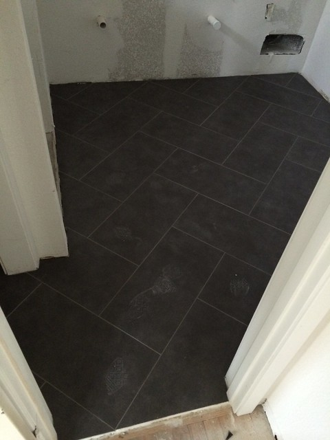 master bathroom floor - herringbone